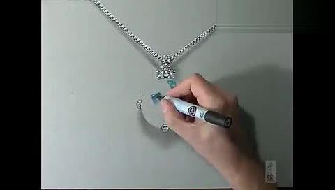 蓝色钻石项链马克笔手绘视频教程 珠宝首饰 高清