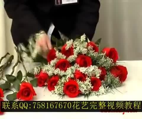 鲜花花束包装视频