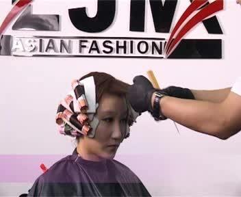 短发烫发排杠方法图片图片